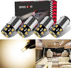 BRISHINE 4PCS BA15D 1142 Interior LED Light Bulbs for RV, Super Bright Warm White 1004 1076 1130 1176 LED Bulbs for Camper Trailer Marine Boat 5th Wheels Motorhome Landscape Lights(12V-24V DC)