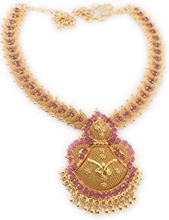 014b747f0 AFJ GOLD 1 Gram Micro Gold Plated South Indian Traditional Fashion Jewellery  Ruby Emerald Handcrafted Ruby
