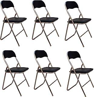 La Silla Española - Pack 6 Sillas plegables de aluminio con asiento y respaldo acolchados en PVC, m