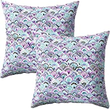 Treely Mermaid Pillow Cases Decorative Mermaid Scale Throw Pillow Covers Set of 2 Cushion Covers 18 x 18 for Beach Couch Sofa(Floral Printed Purple)