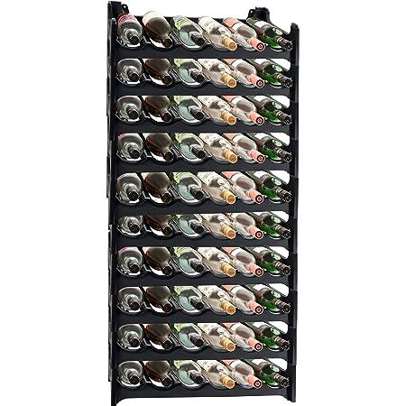 GOPLUS 40 Bouteillles Etag/ère /à Vin 102,5 x 24 x 33 CM Casier /à Bouteille Modulable Grande Capacit/é en Bois de Pin