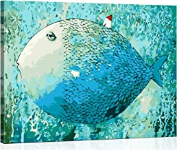 VIKMARI DIY Framed Paint by Numbers Kits for Adults Paint by Number Blue Fish Painting by Number with Frame for Kids DIY O...
