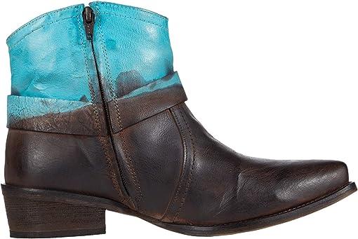 Brown Leather Vamp/Blue Dip-Dye Shaft