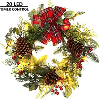 MAOYUE Christmas Wreath 19 Inch Lighted Outdoor Wreath Tartan Pre-lit Holiday Wreath with Red Berries, Pine Cones, Battery Operated Christmas Decorations for Home, Window, Front Door