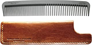 Chicago Comb Model 6 Carbon Fiber Comb + English Tan Horween leather sheath, Made in USA, ultimate styling comb, for men & women, ultra smooth strong & light, anti-static, premium leather sheath