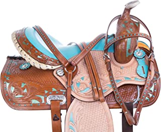 AceRugs 14 15 16 Rough Out Western Leather Turquoise Crystal Bling Barrel Racing Show Horse Saddle Free TACK Set