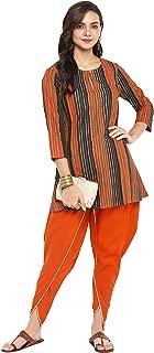 Janasya Women's Multicolor Cotton Short Kurti With Dhoti