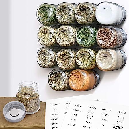 Frascos de Especias Magn/éticas con 6 Botes Juego de Frascos Especias para Cocina Especias y Hierbas Especiero magn/ético de Pared