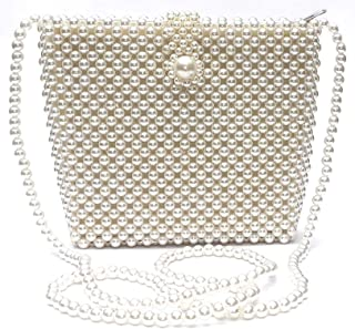 PathakCreation Pearl Beaded Crossbody Bag for Girls. Fashionable Hand Clutch Bag for Women Evening Party.Sling Bag