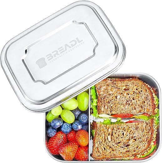 BREADL® Edelstahl Brotdose 1000ml, Spülmaschinenfest, BPA-frei, Trennwand und 2 Fächer, Lunchbox & Bento-Box für Kinder & Erwachsene für Schule,…