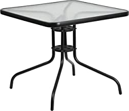 Flash Furniture 31.5'' Square Tempered Glass Metal Table -