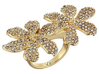 Vince Camuto Double Flower Ring (Gold/Crystal) Ring