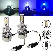 CK Formula (3 Colors in 1 Bulb) H7 6000K White 8000K 10000K Deep Blue Xenon COB LED (Low Beam Headlight) 7600 LM 72W USA