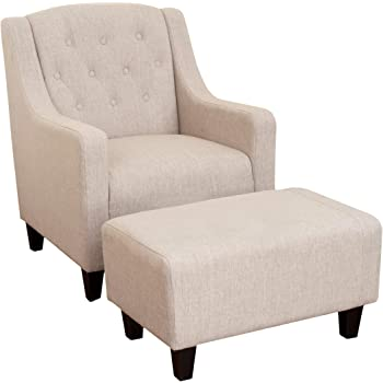 Christopher Knight Home Elaine Tufted Fabric Chair and Ottoman, Light Beige