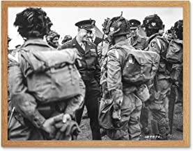 War WWII USA Eisenhower D-Day Paratroopers 1944 Photo Art Print Framed Poster Wall Decor 12x16 inch