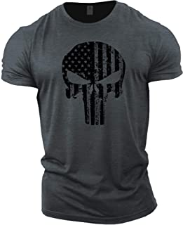 GYMTIER T-shirt de bodybuilding pour homme - Motif crâne et drapeau des États-Unis