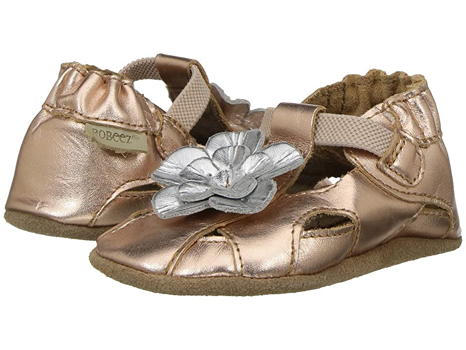 Robeez Pretty Pansy Soft Sole (Infant/Toddler) (Rose Gold) Girl
