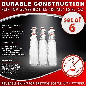 Flip Top Glass Bottle [1 Liter / 33 fl. oz.] – Swing Top Brewing Bottle with Stopper for Beverages, Oil, Vinegar, Kom...