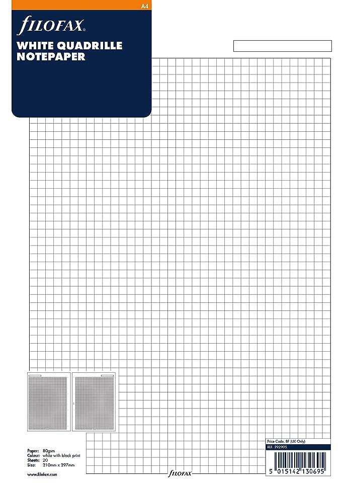 滑るバイパスクマノミファイロファックス システム手帳 リフィル A4 メモ 方眼 5mm ホワイト 292905 正規輸入品