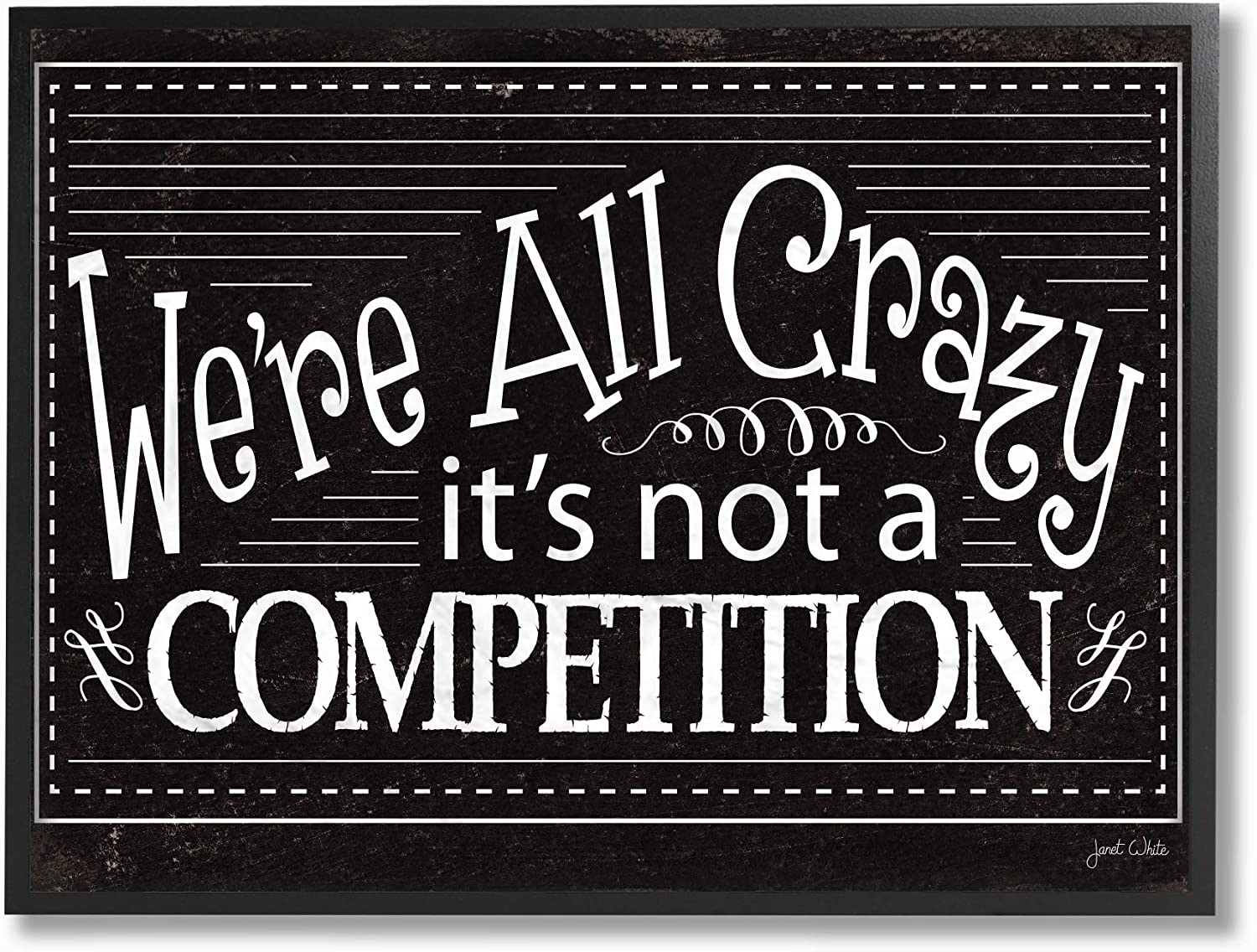 Stupell Industries Home We're All Crazy Funny Black and White Typography Framed Giclee Texturized Art, Multi-color