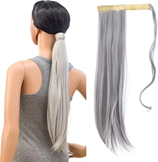SWACC Women Long Straight/Curly Wavy Wrap Around Ponytail Extension Synthetic Hair Piece Clip in Hair extensions (Straight, Silver Gray)