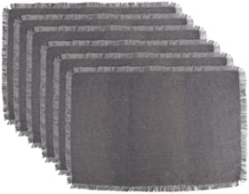 DII 100% Jute Rustic Vintage Placemat for Parties BBQ's Everyday & Holidays Use (Set of 6), Gray