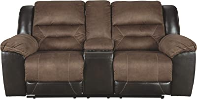 Signature Design by Ashley - Earhart Contemporary Double Reclining Loveseat with Console, Brown