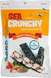 SeaCrunchy Toasted Seaweed Brittle Snacks Almond & Sesame Seeds - 1 Oz. (1 Pack)