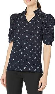Marchio Amazon - Lark & Ro, blusa da donna in tessuto, a mezze maniche, con scollo a volant