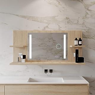 Artforma Miroir de Salle de Bain avec 3 étagères 122x63 cm | Miroir illuminé à LED | 3 Couleurs Disponibles | Sonoma | Lum...