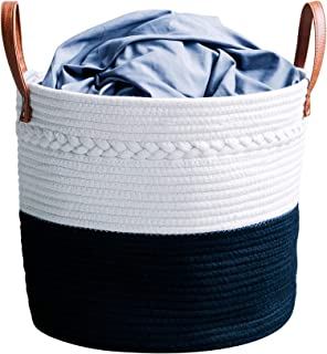 "Alfie Sustainables Cotton Rope Basket (15"" x 13"") - 100% Natural Decorative Woven Storage Basket Organizer with Leather Handles - for Living Room, Blankets, Toys, Laundry, Nursery, Baby Supplies"