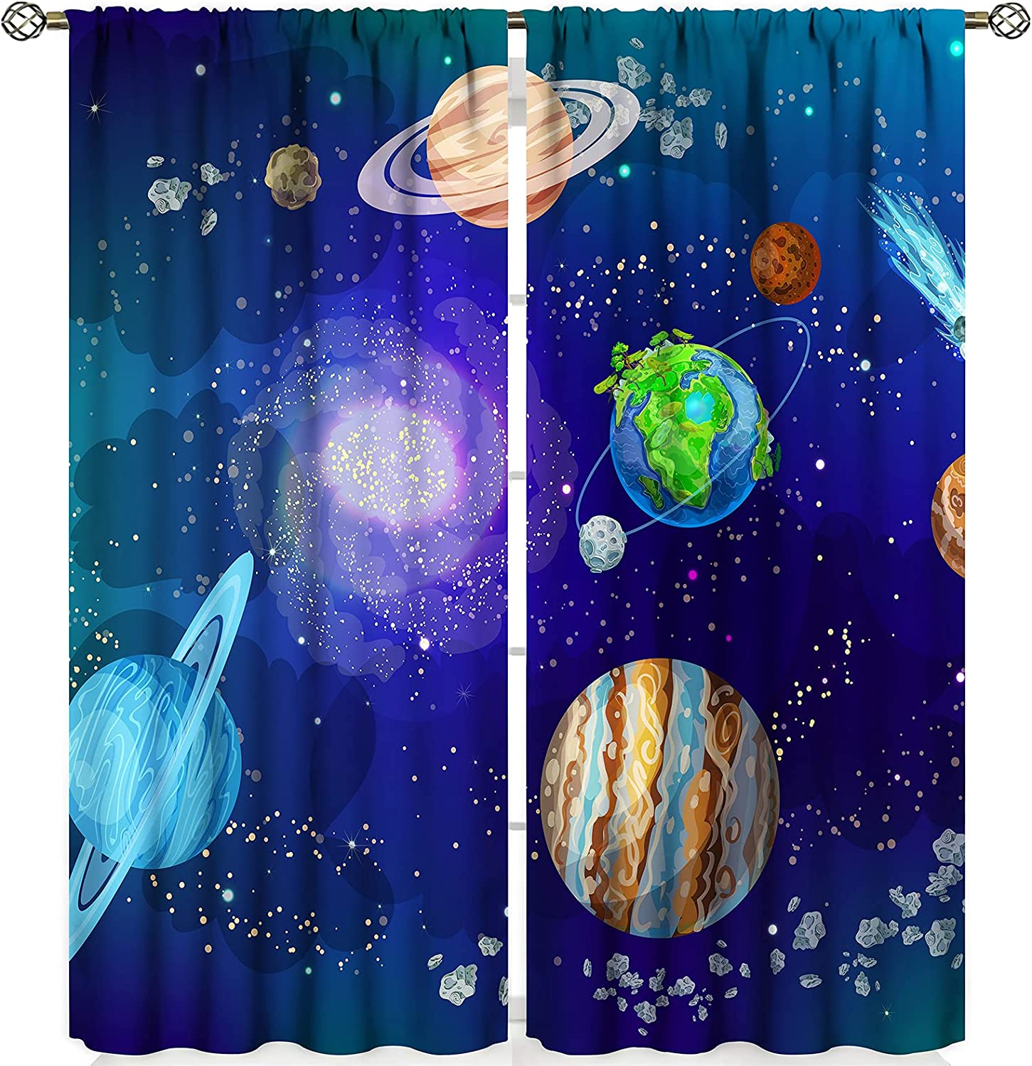 Kids Colorful Universe Fashionable Blackout Max 53% OFF Curtains Sapce Planet Syst Solar