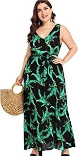 Milumia Women Tie Dye High Low Sleeveless Fit and Flare Summer Plus Size Maxi Dress