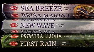 SEA BREEZE New Wave First Rain 60 HEM Incense Sticks 3 Scent Sampler Gift Set