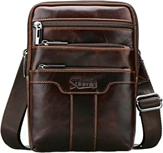 Men's Vintage Genuine Leather Shoulder Bag Messenger Bags (brown-3803)