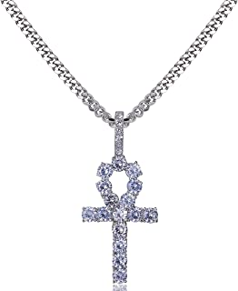 14K Gold Plated Iced Out CZ Lab Diamond Ankh Cross Egyptian Pendant for Men and Women with 24