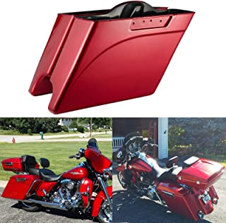 Advanblack Ember Red Sunglo 4 1/2 INCH Extended Saddlebags Stretched Hard Saddlebags Bottoms Fit for Harley Touring Road King Street Glide Electra Glide Ultra Classic Road Glide 1994-2013