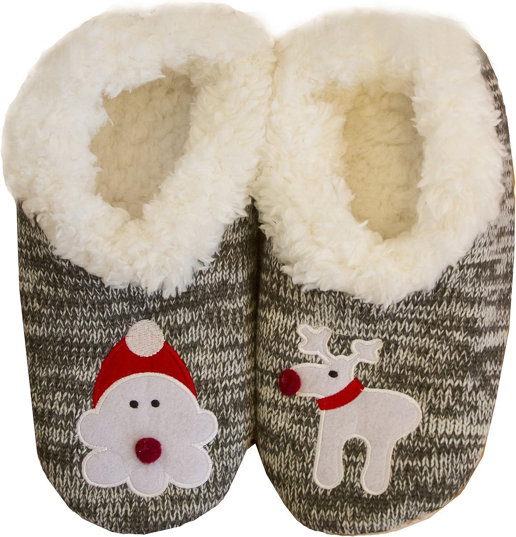 Blandice Super Soft Santa and Rudolph Non-Skid Sole Slipper