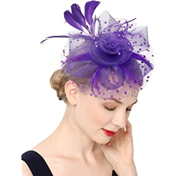 Fascinators Hat for Women Tea Party Headband Kentucky Derby Wedding Flower Cocktail Mesh Feathers Hair Clip