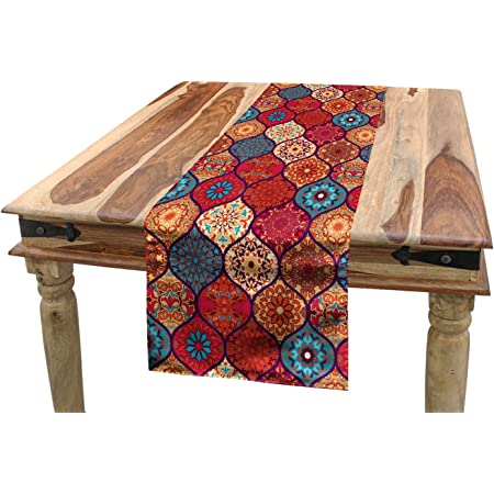 ABAKUHAUS marocain Chemin de Table, Oriental Naturel ondulé, Rectangulaire Décoratif pour Salle à Manger, 40 cm x 225 cm, Multicolore