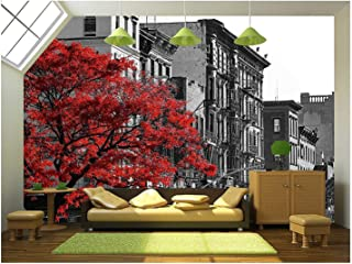 wall26 - Red Fall Tree in Black and White NYC Street Scene on 2nd Avenue in The East Village of Manhattan, New York City - Removable Wall Mural | Self-Adhesive Large Wallpaper - 100x144 inches