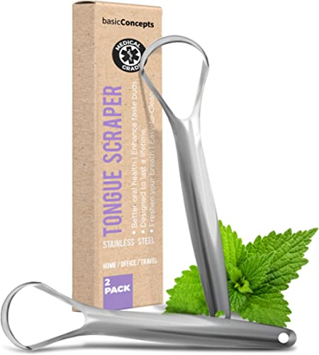 Tongue Scraper (2 Pack), Reduce Bad Breath (Medical Grade), Stainless Steel Tongue Cleaners, 100% BPA Free Metal Tong...