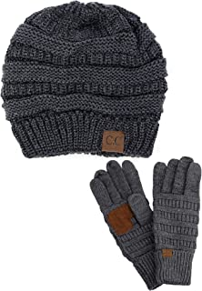 Unisex Soft Stretch Cable Knit Beanie and Anti-Slip Touchscreen Gloves 2 Pc Set 2 Pc Set