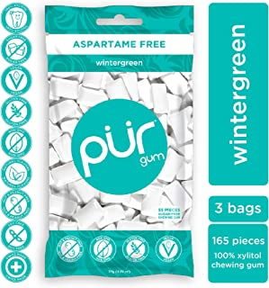 PUR 100% Xylitol Chewing Gum, Wintergreen, Sugar-Free + Aspartame Free, Vegan + non GMO, 55 Count (Pack of 3)