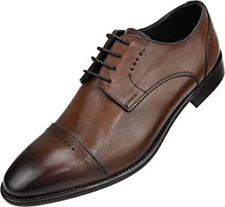 AG4732 - Men's Italian Leather Dress Shoes - Cap Toe Oxfords, Lace Up Mens Dress Shoes - Designer Shoes, Handcrafted in Italy