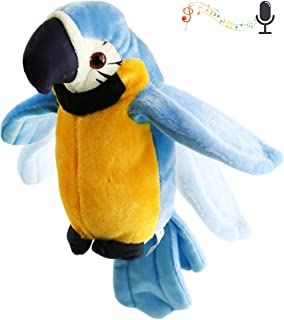 Houwsbaby Talking Stuffed Parrot Repeat What You Say Electronic Bird Speaking Pet Waving Wings Plush Toy Interactive Animated Kids Gift Halloween Christmas, 9 in (Blue)