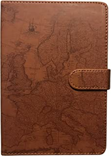 Eccolo 6 x 8 Inches Style Journal in Faux Leather (World Map Brown)