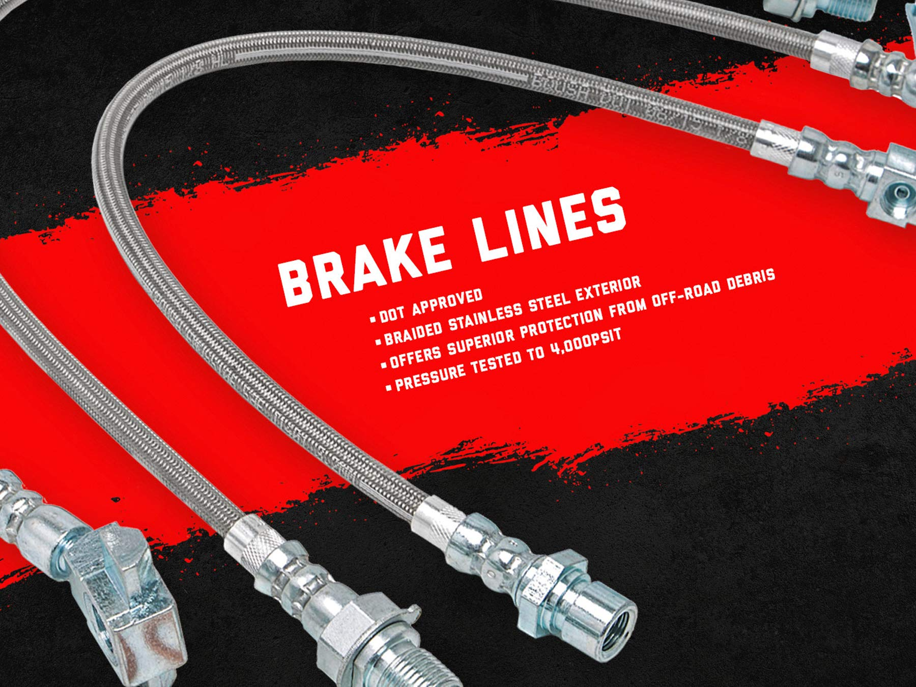 """Rough Country Front Extended Stainless Brake Lines (fits) 87-06 Jeep Wrangler YJ TJ / 84-01 Cherokee XJ 
