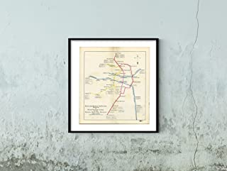 Map|Greater Boston Transit s, BERy Elevated, Tunnel and Rapid Transit Lines 1926 Transit/RR|Historic Antique Vintage Reprint|Size: 22x24|Ready to Frame