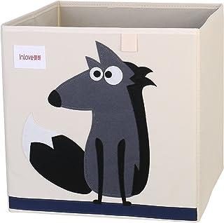 Boîte de rangement jouets de animé cube Toile Organisateur pliable pour enfants par ELLEMOI (Loup)